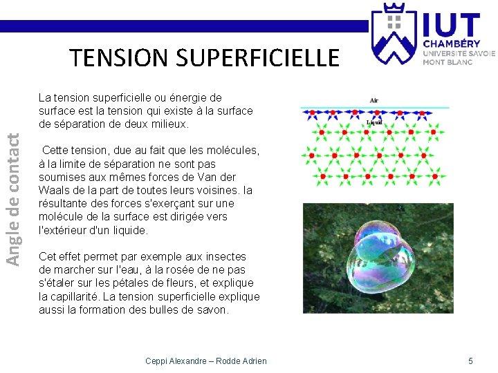 TENSION SUPERFICIELLE Angle de contact La tension superficielle ou énergie de surface est la