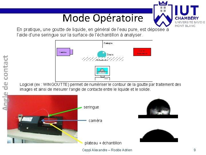 Mode Opératoire Angle de contact En pratique, une goutte de liquide, en général de