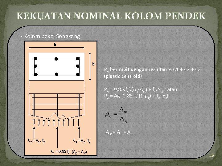 KEKUATAN NOMINAL KOLOM PENDEK - Kolom pakai Sengkang h b Po berimpit dengan resultante