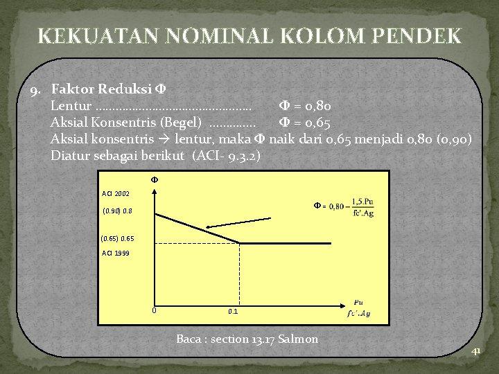 KEKUATAN NOMINAL KOLOM PENDEK 9. Faktor Reduksi Φ Lentur ……………………. . Φ = 0,