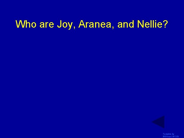 Who are Joy, Aranea, and Nellie? Template by Bill Arcuri, WCSD