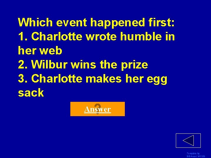 Which event happened first: 1. Charlotte wrote humble in her web 2. Wilbur wins