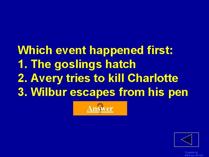 Which event happened first: 1. The goslings hatch 2. Avery tries to kill Charlotte