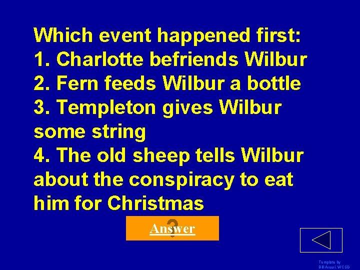 Which event happened first: 1. Charlotte befriends Wilbur 2. Fern feeds Wilbur a bottle