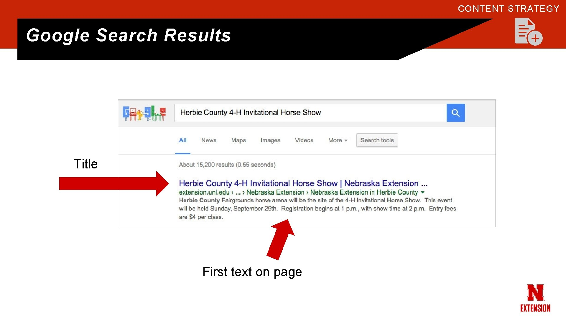 CONTENT STRATEGY Google Search Results Title First text on page