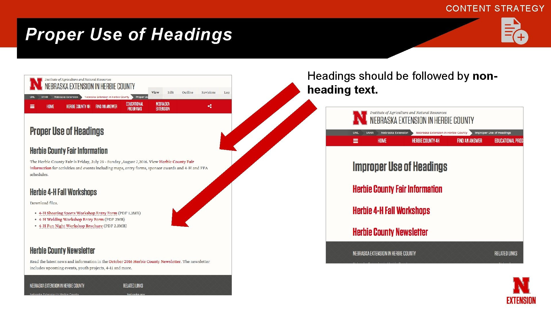 CONTENT STRATEGY Proper Use of Headings should be followed by nonheading text.