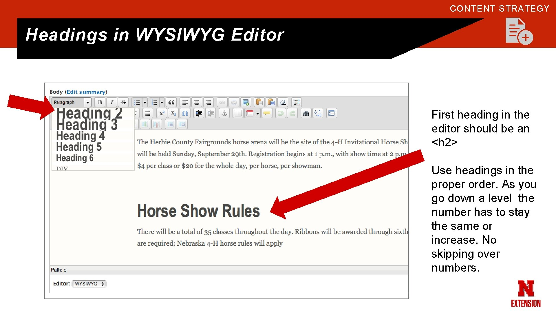 CONTENT STRATEGY Headings in WYSIWYG Editor First heading in the editor should be an