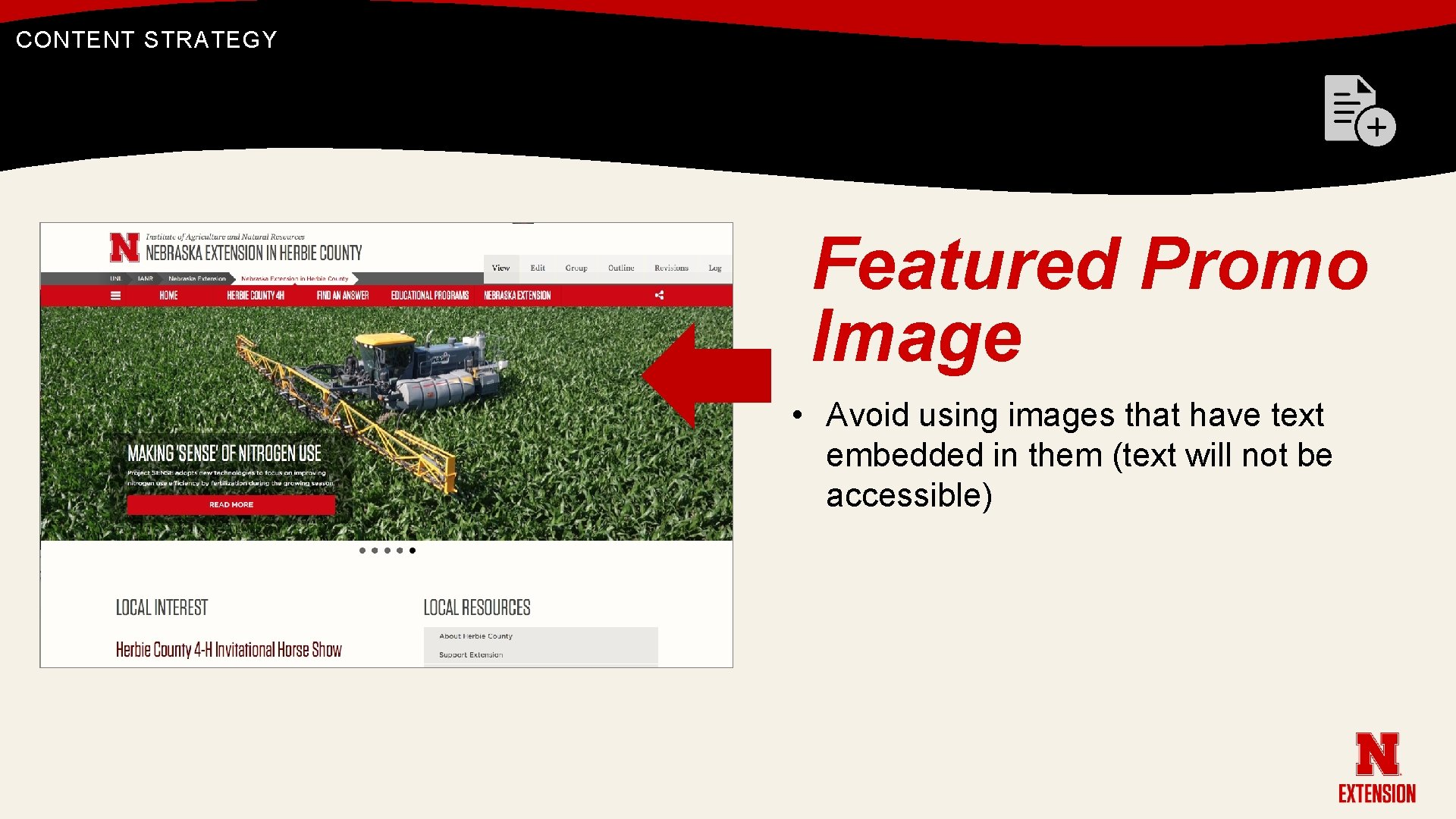 CONTENT STRATEGY Featured Promo Image • Avoid using images that have text embedded in