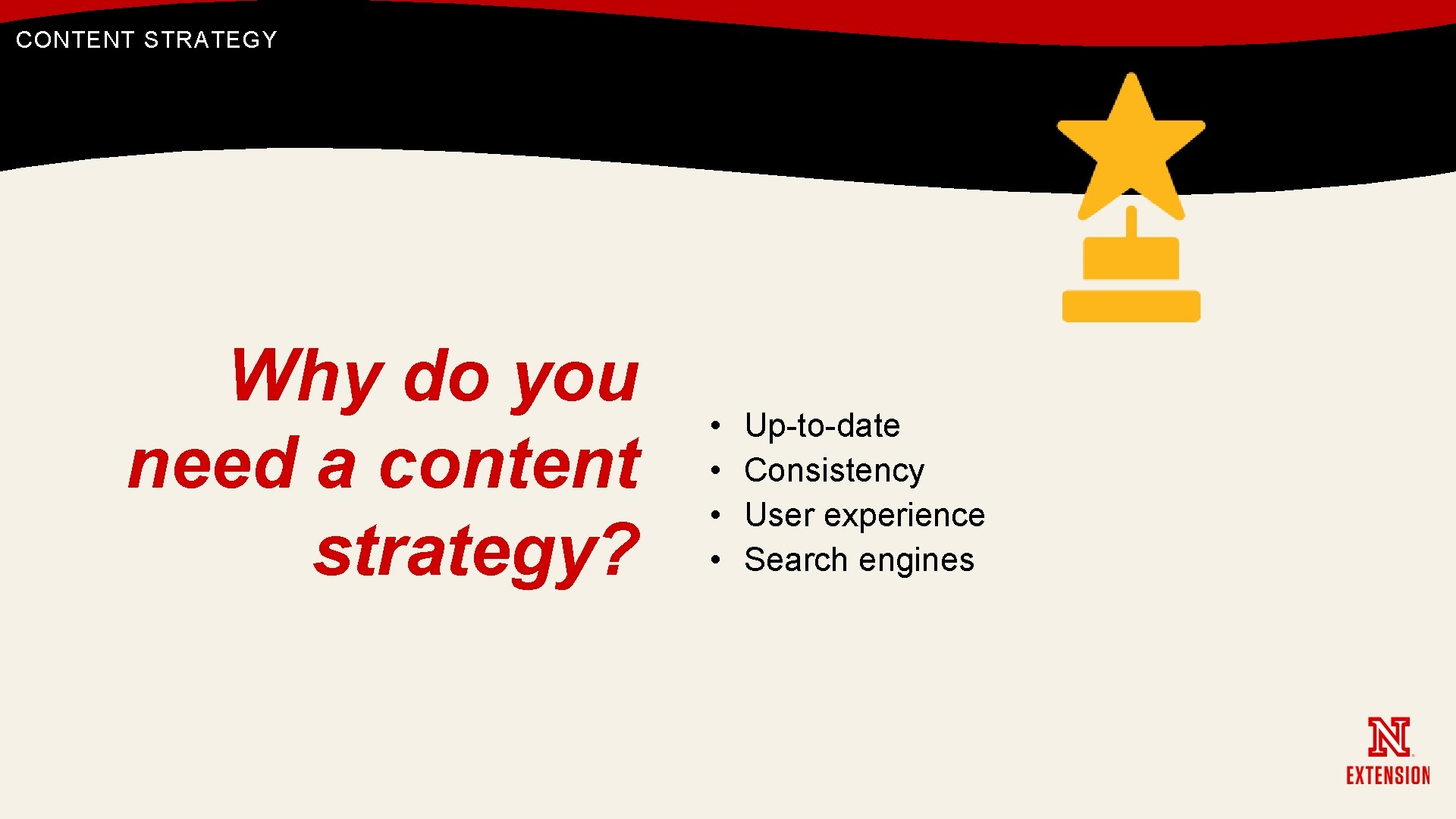 CONTENT STRATEGY Why do you need a content strategy? • • Up-to-date Consistency User