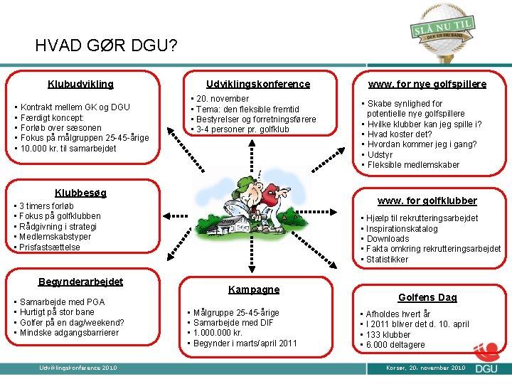 HVAD GØR DGU? Klubudvikling • Kontrakt mellem GK og DGU • Færdigt koncept: •