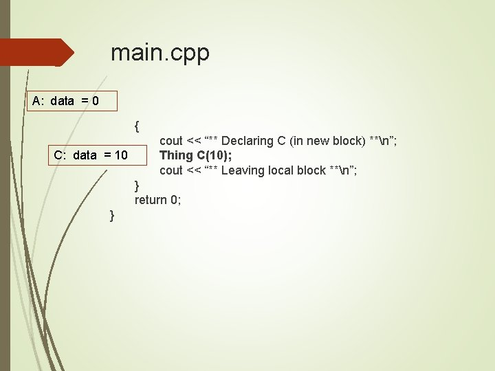 """main. cpp A: data = 0 { C: data = 10 cout << """"**"""