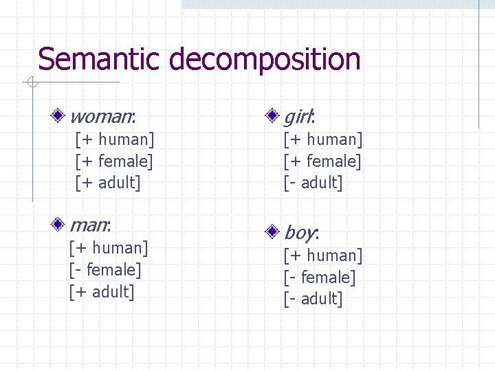 Semantic decomposition woman: [+ human] [+ female] [+ adult] man: [+ human] [- female]