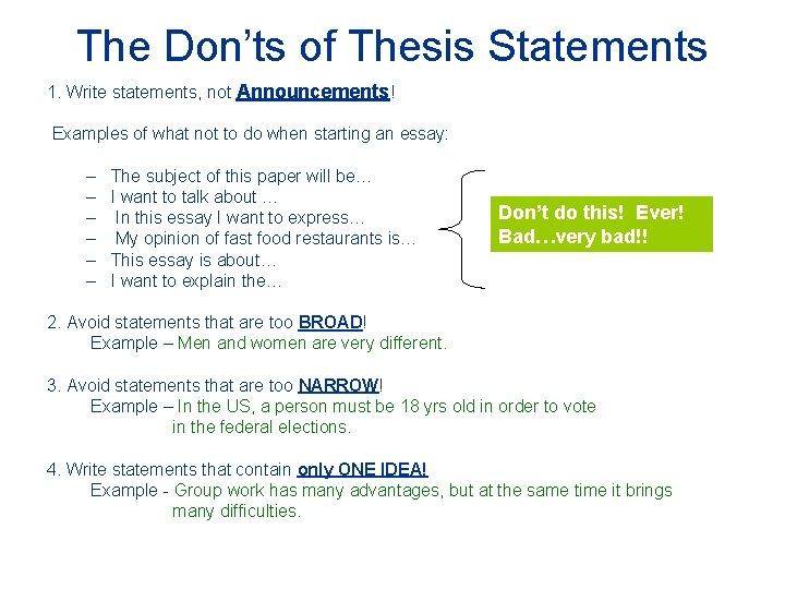 Composing a good thesis statement entrepreneur business plan pdf