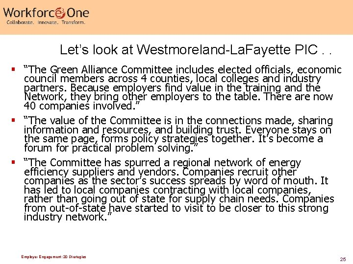 """Let's look at Westmoreland-La. Fayette PIC. . § """"The Green Alliance Committee includes elected"""