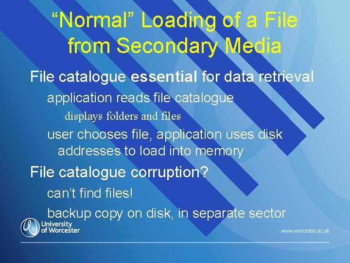 """""""Normal"""" Loading of a File from Secondary Media File catalogue essential for data retrieval"""