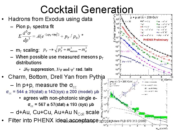 Cocktail Generation • Hadrons from Exodus using data – Pion p. T spectra fit