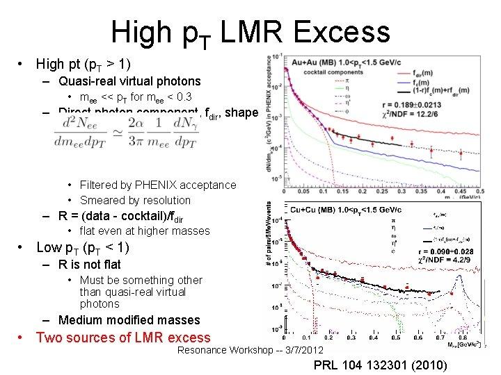 High p. T LMR Excess • High pt (p. T > 1) – Quasi-real