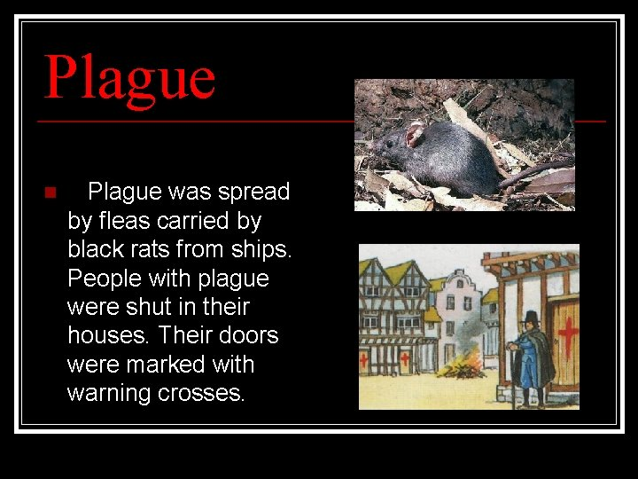 Plague n Plague was spread by fleas carried by black rats from ships. People