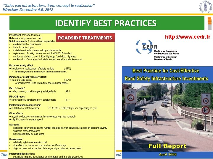 """""""Safe road infrastructure: from concept to realization"""" Wrocław, December 4 -6, 2012 IDENTIFY BEST"""