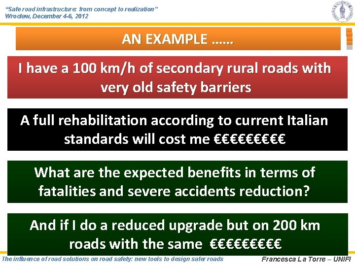 """""""Safe road infrastructure: from concept to realization"""" Wrocław, December 4 -6, 2012 AN EXAMPLE"""