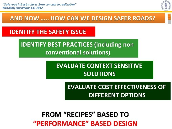"""""""Safe road infrastructure: from concept to realization"""" Wrocław, December 4 -6, 2012 AND NOW"""