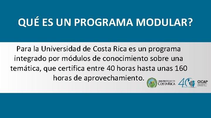 QUÉ ES UN PROGRAMA MODULAR? Para la Universidad de Costa Rica es un programa