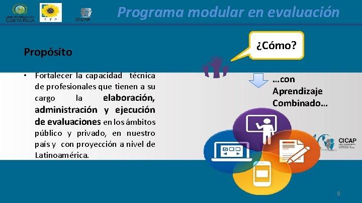 Programa modular en evaluación Propósito • Fortalecer la capacidad técnica de profesionales que tienen