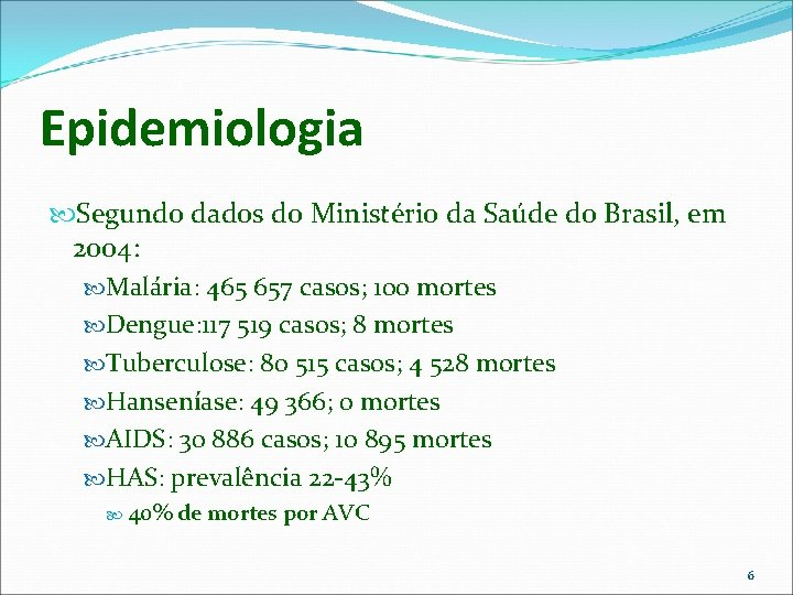 Epidemiologia Segundo dados do Ministério da Saúde do Brasil, em 2004: Malária: 465 657