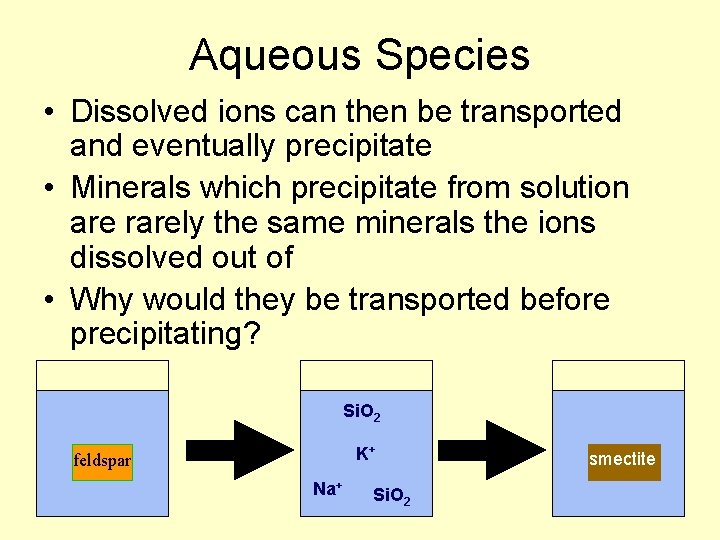 Aqueous Species • Dissolved ions can then be transported and eventually precipitate • Minerals