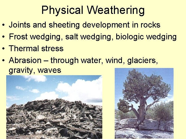 Physical Weathering • • Joints and sheeting development in rocks Frost wedging, salt wedging,