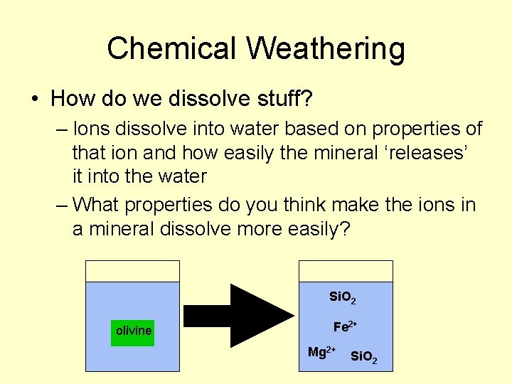Chemical Weathering • How do we dissolve stuff? – Ions dissolve into water based
