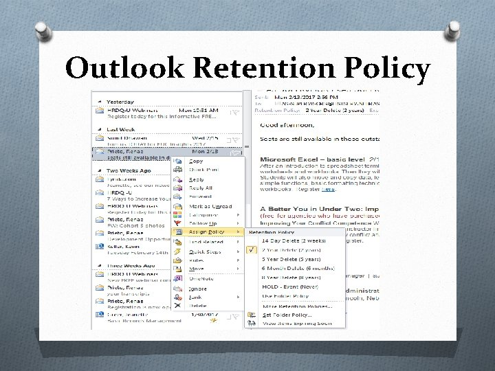 Outlook Retention Policy