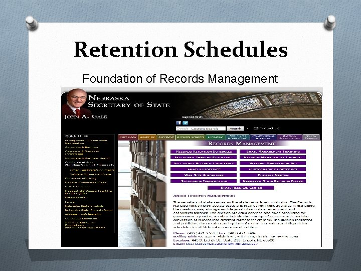 Retention Schedules Foundation of Records Management
