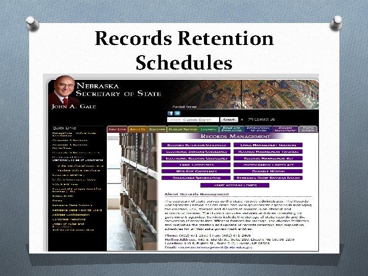 Records Retention Schedules