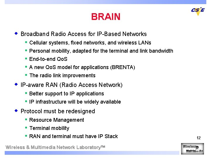 BRAIN w Broadband Radio Access for IP-Based Networks • • • Cellular systems, fixed