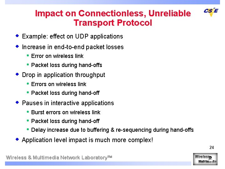 Impact on Connectionless, Unreliable Transport Protocol w Example: effect on UDP applications w Increase