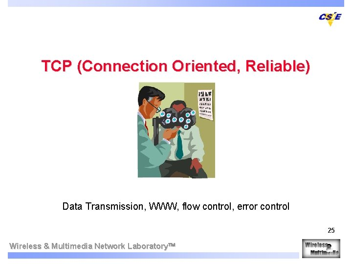 TCP (Connection Oriented, Reliable) Data Transmission, WWW, flow control, error control 25 Wireless &