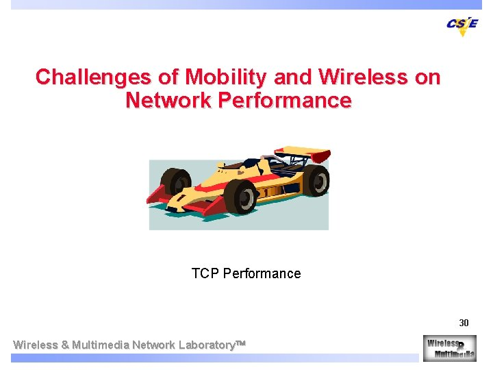Challenges of Mobility and Wireless on Network Performance TCP Performance 30 Wireless & Multimedia