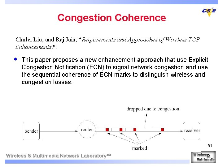 """Congestion Coherence Chnlei Liu, and Raj Jain, """"Requirements and Approaches of Wireless TCP Enhancements,"""