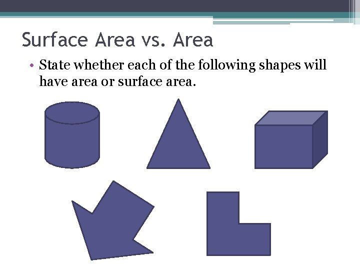 Surface Area vs. Area • State whether each of the following shapes will have