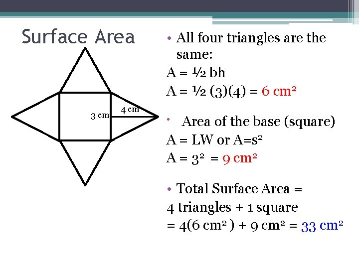 Surface Area 3 cm 4 cm • All four triangles are the same: A