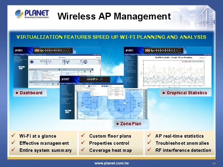 Wireless AP Management VIRTUALIZATION FEATURES SPEED UP WI-FI PLANNING AND ANALYSIS l Graphical Statistics