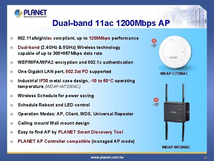 Dual-band 11 ac 1200 Mbps AP u 802. 11 a/b/g/n/ac compliant, up to 1200