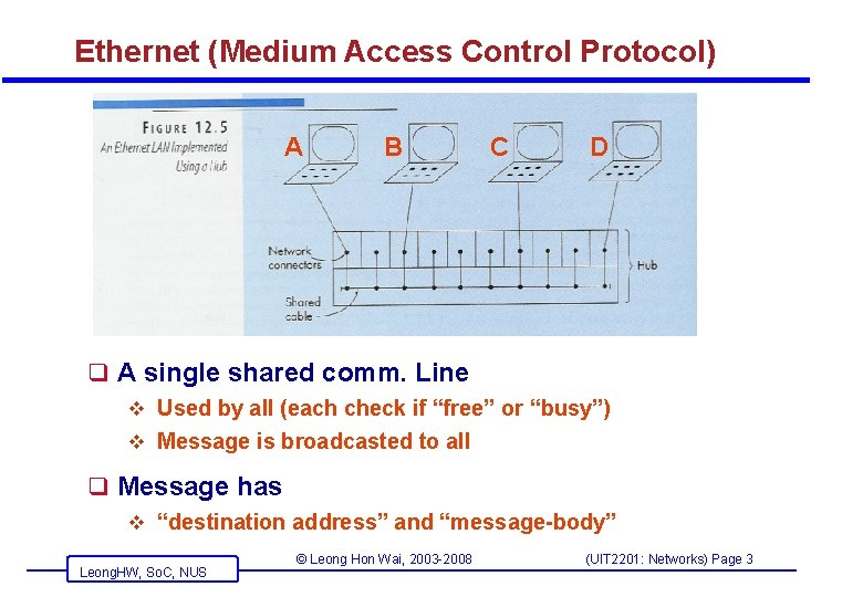 Ethernet (Medium Access Control Protocol) A B C D q A single shared comm.
