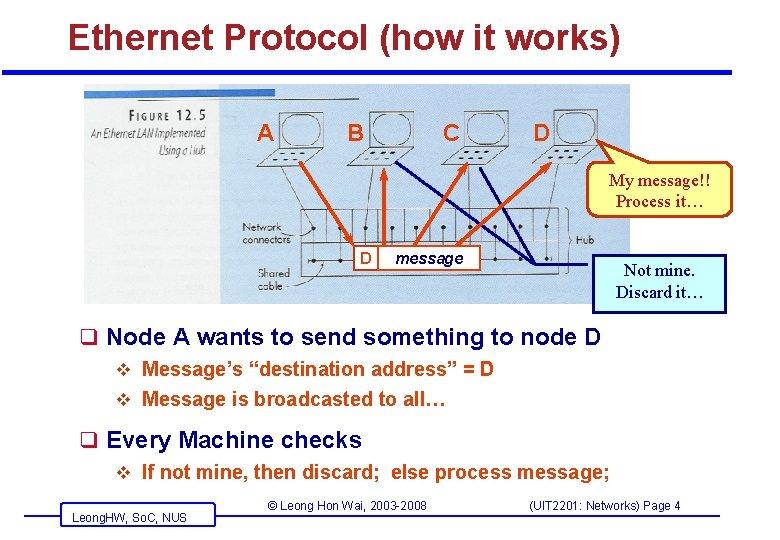 Ethernet Protocol (how it works) A B C D My message!! Process it… D