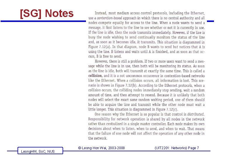 [SG] Notes Leong. HW, So. C, NUS © Leong Hon Wai, 2003 -2008 (UIT