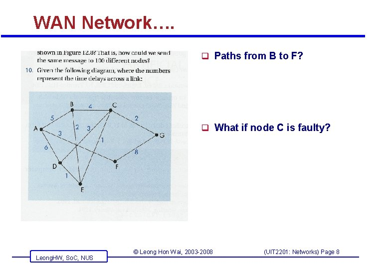 WAN Network…. q Paths from B to F? q What if node C is