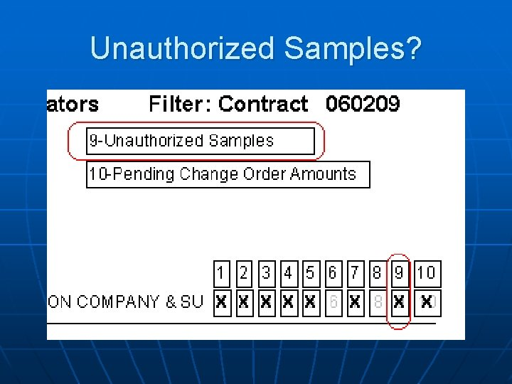 Unauthorized Samples?