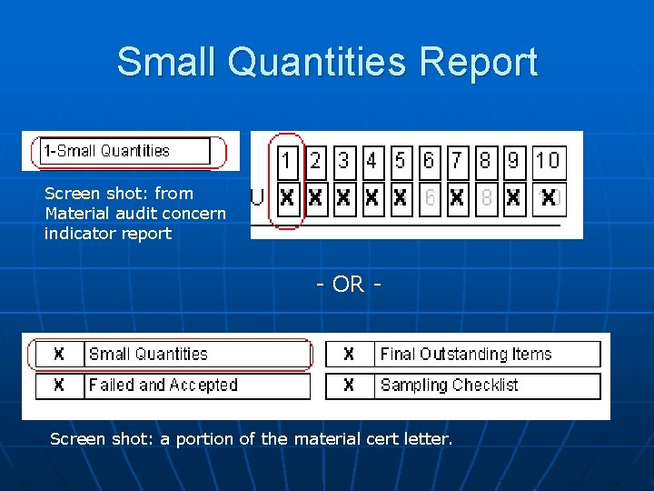 Small Quantities Report Screen shot: from Material audit concern indicator report - OR -