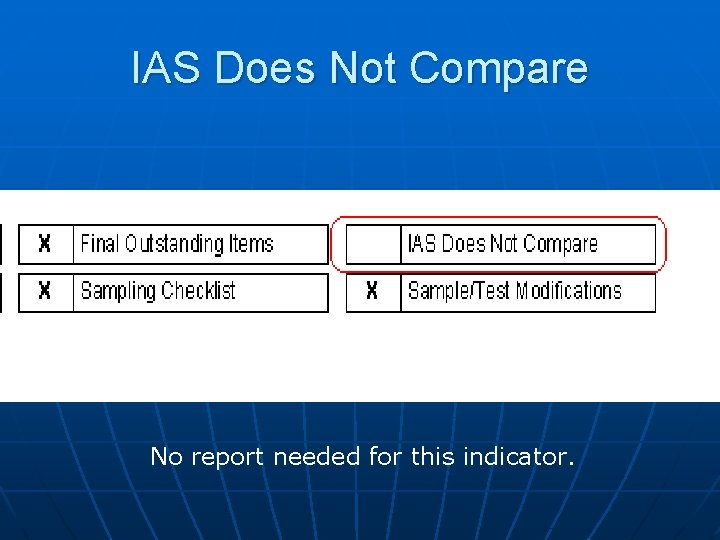 IAS Does Not Compare No report needed for this indicator.